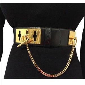 CELINE - Black leather belt with w/Gold Hardware